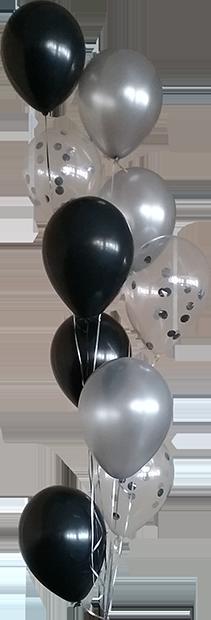 Silver, polkadot, black balloons
